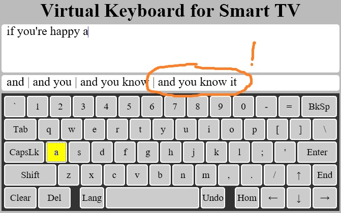 Virtual Keyboard for Smart TV and Internet Video